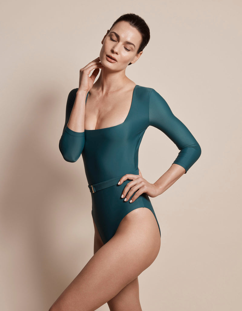 Luxury long sleeve sun protective sustainable swimsuit in green