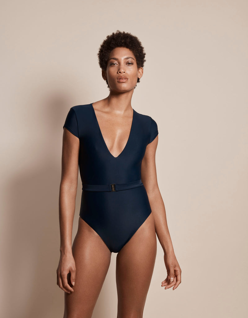 Luxury sun protective sustainable swimsuit in blue