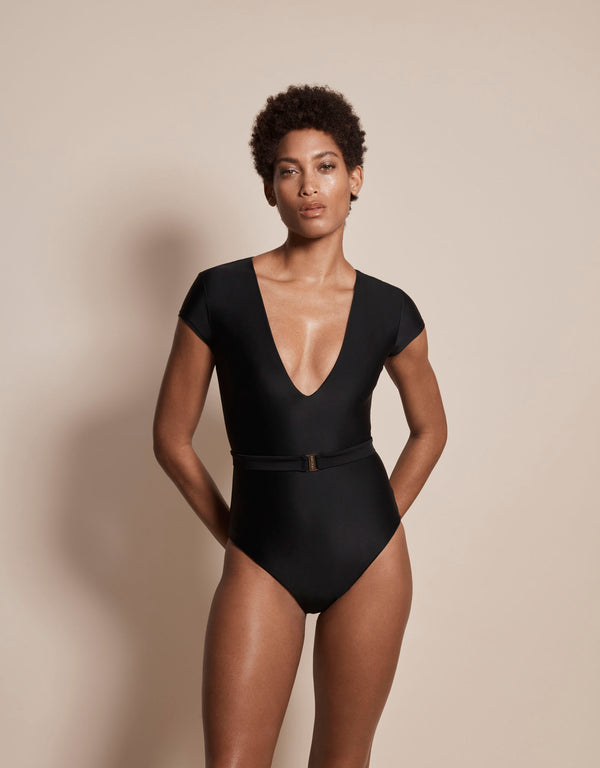 Luxury sun protective sustainable swimsuit in black