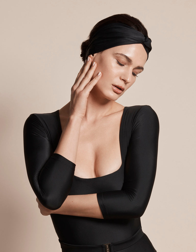 Luxury sun protective sustainable head wrap accessory in black