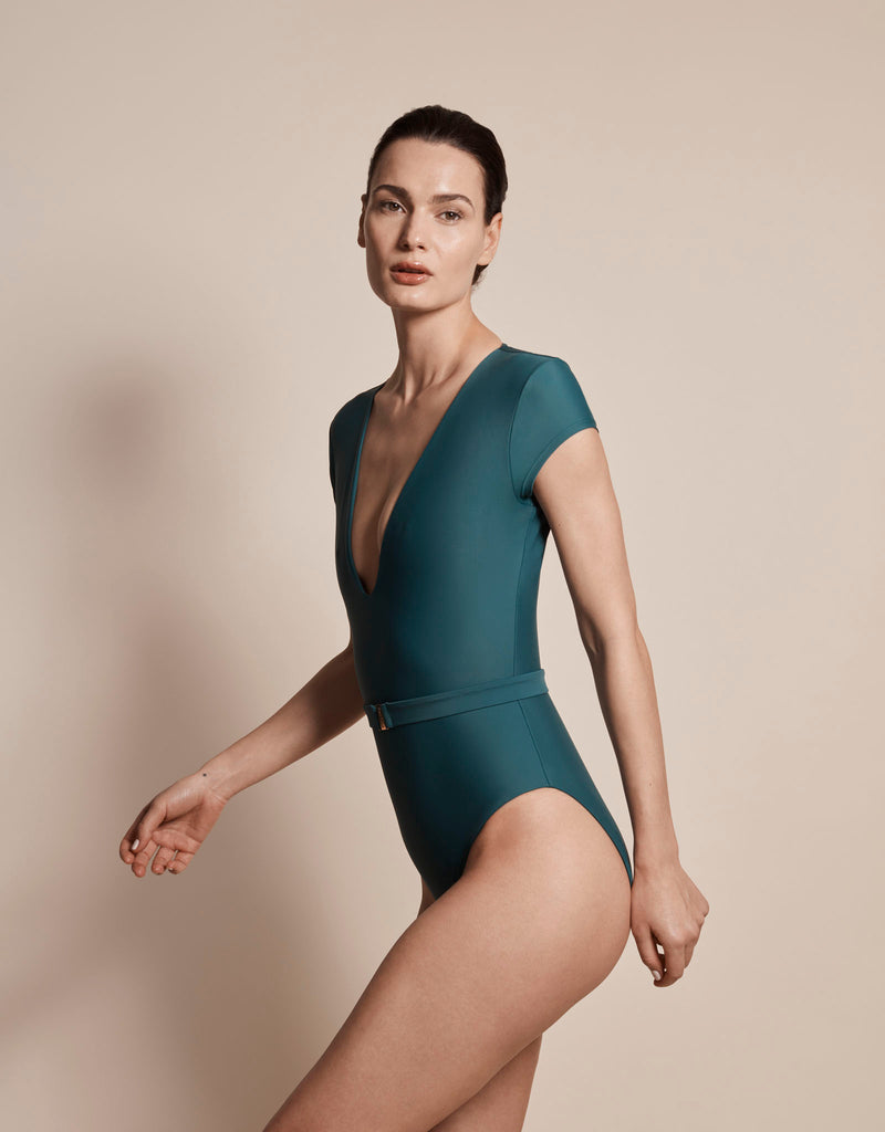 Luxury sun protective sustainable swimsuit in green