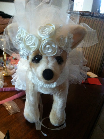 Headpiece for dog wedding gown for National Geographic Taboo series Muttrimony episode
