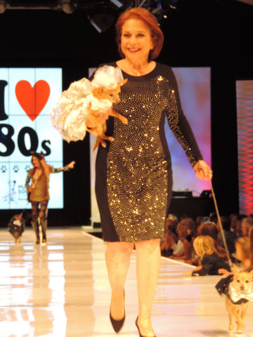 Patt Savastano, designer for Le Chien 2016 walks the runway with Bella and Angelo