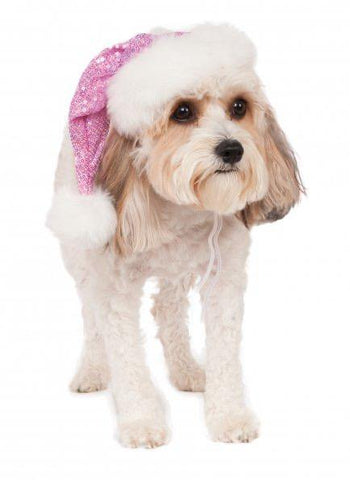 Pink Sequin Santa Hat For Dogs and Cats