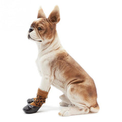 Waterproof Rubber Bottom Brown & Black Leopard Dog Pet Socks