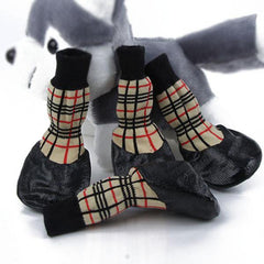 Waterproof Rubber Bottom Tan Plaid Dog Pet Socks