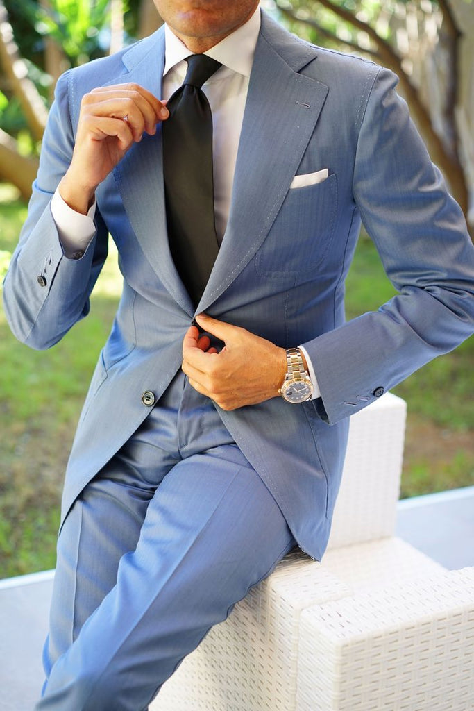 Blue Suit with Black Tie