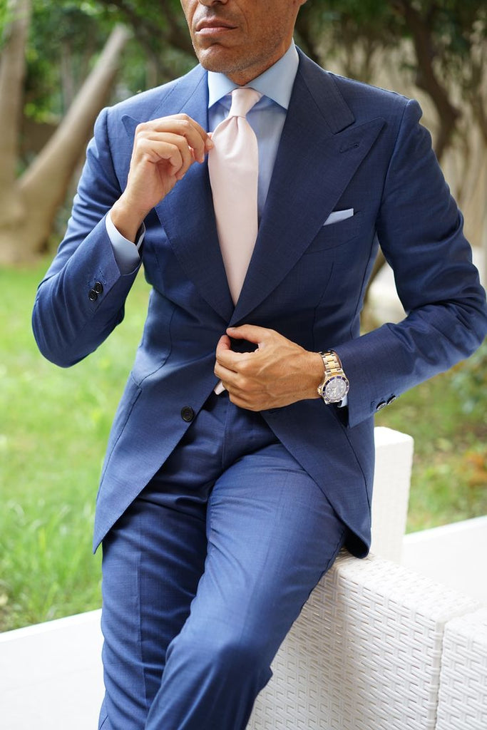 Blue Suit with Pink Tie