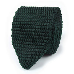 Dark Green Pointed Knitted Tie