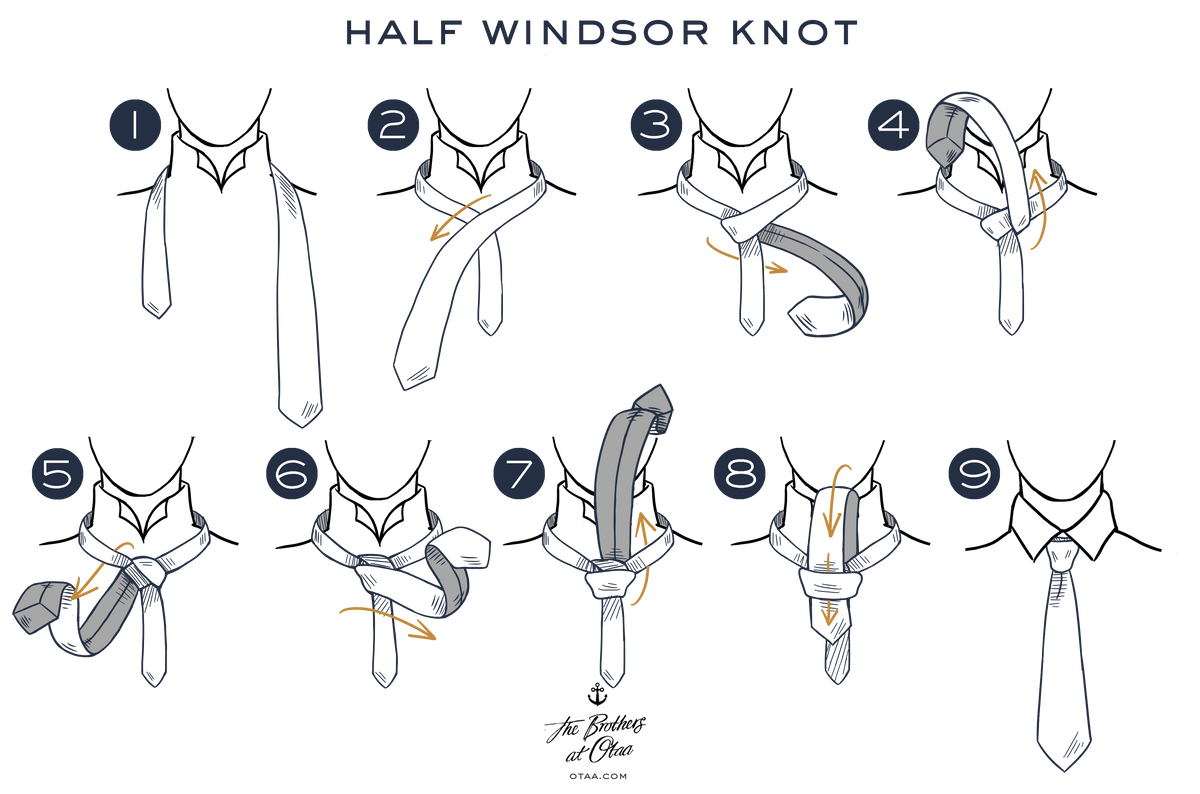 how to tie a half windsor knot - steps