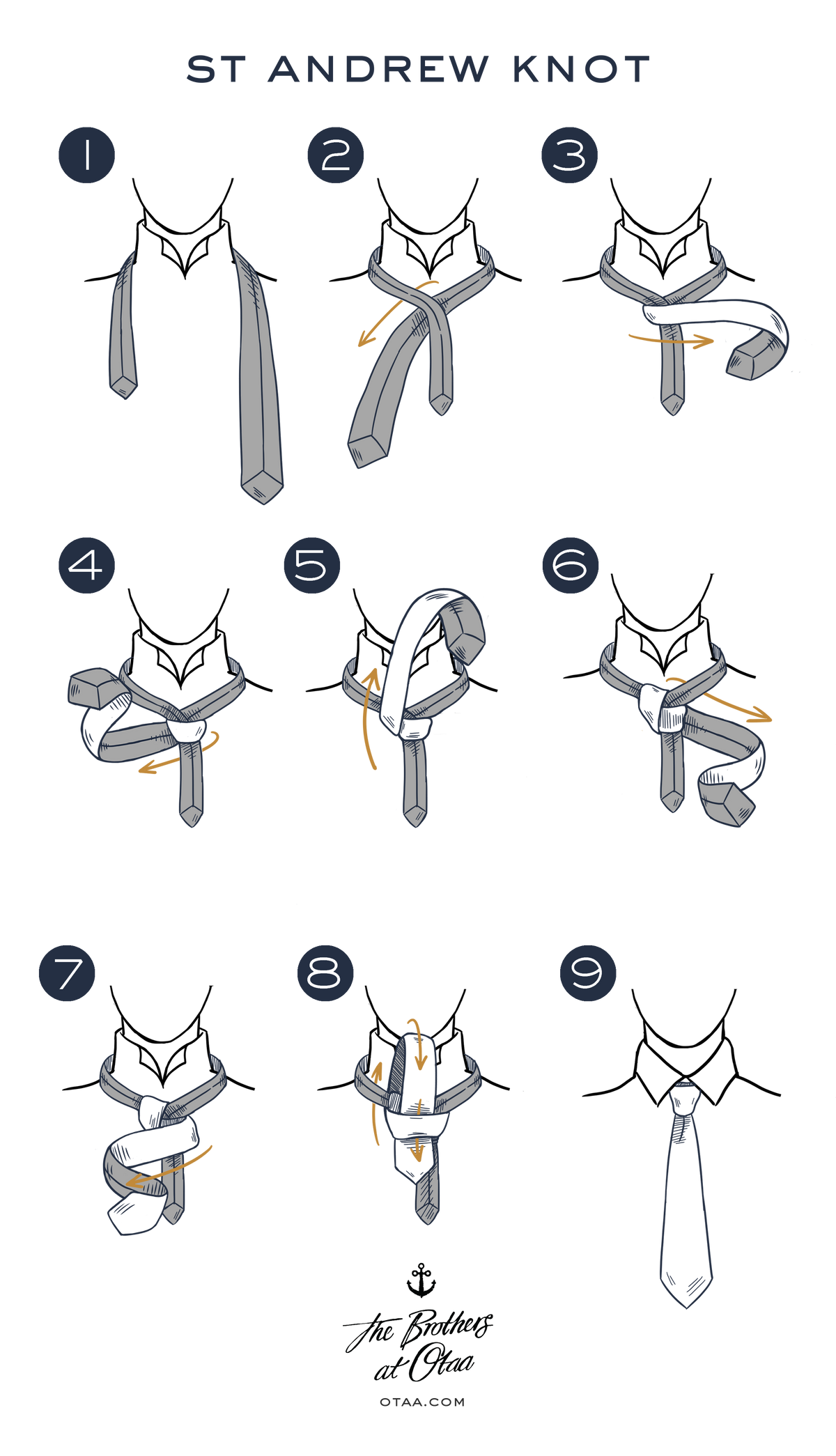How to tie a st andrew knot - steps