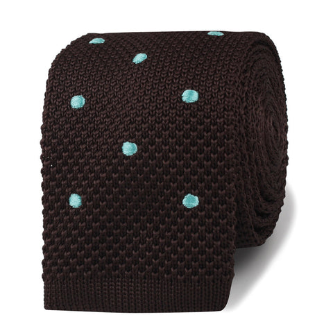 Bistre Brown with Powder Blue Polkadot Knitted Tie