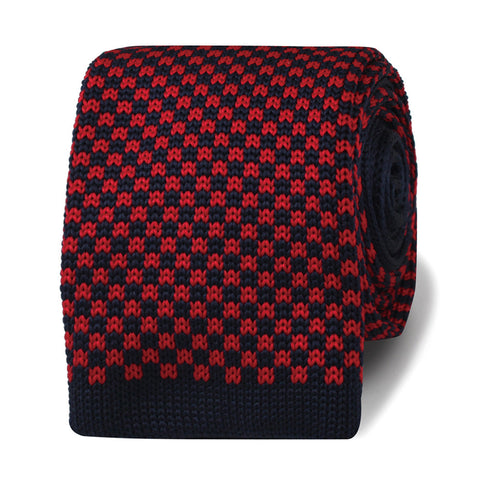 Bill the Butcher Black & Red Check Knitted Tie