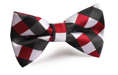 White Black Maroon Checkered Bow Tie