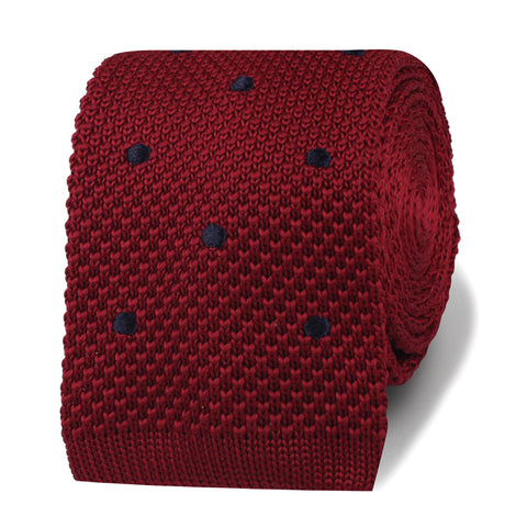 Sean Connery Maroon Polkadot Knitted Tie
