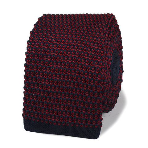 Frank Costello Blue & Maroon Tweed Knitted Tie