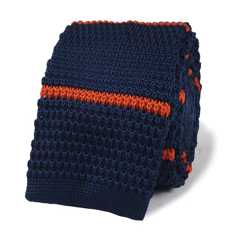 Nicky Santoro Navy Blue with Orange Striped Knitted Tie