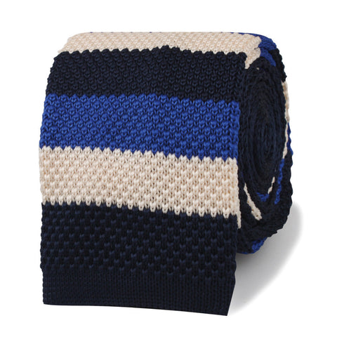 James Conway Blue Striped Knitted Tie