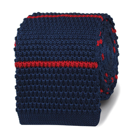 Col Hans Landa Navy Blue with Red Stripes Knitted Tie