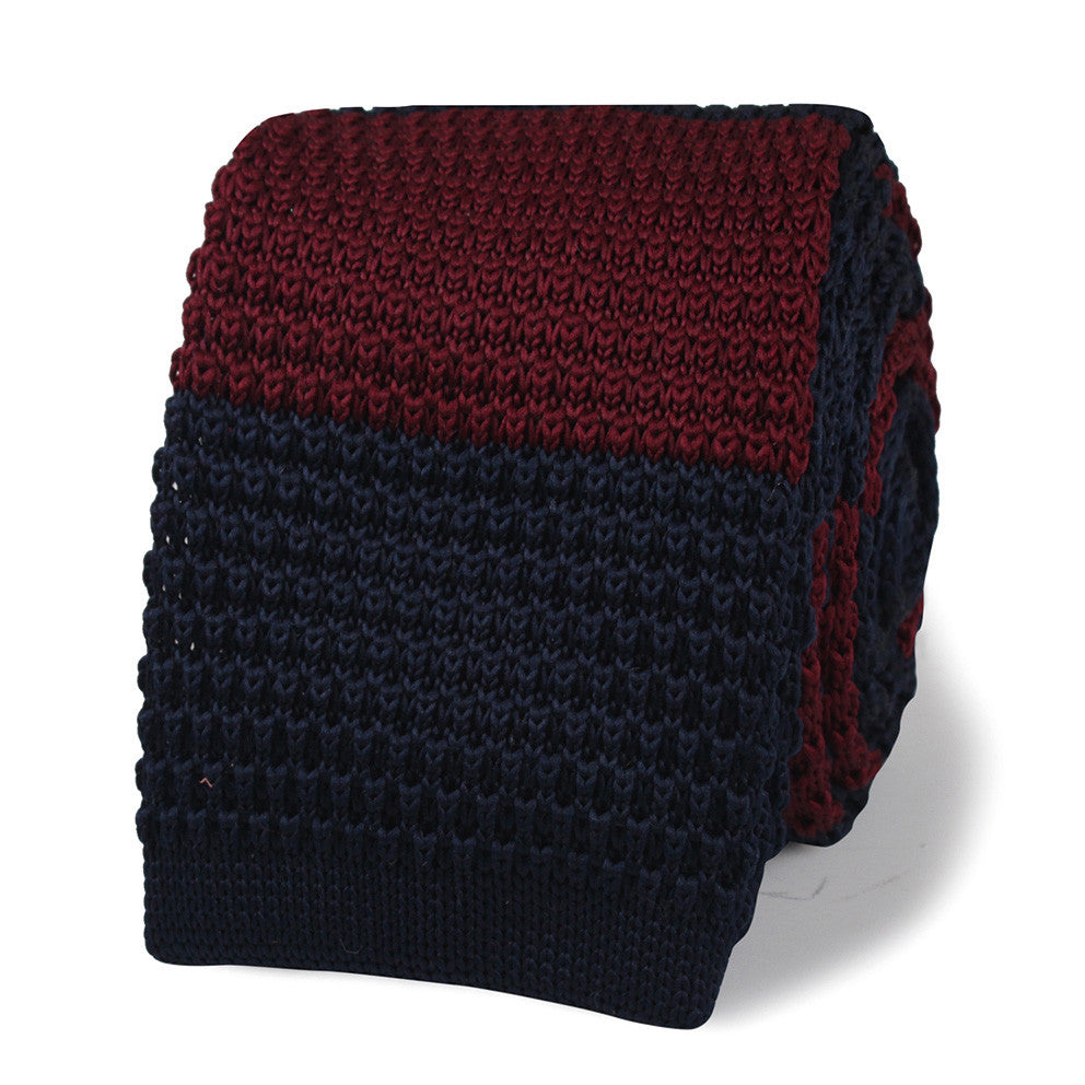 Jack Lemmon Navy Blue & Maroon Striped Knitted Tie