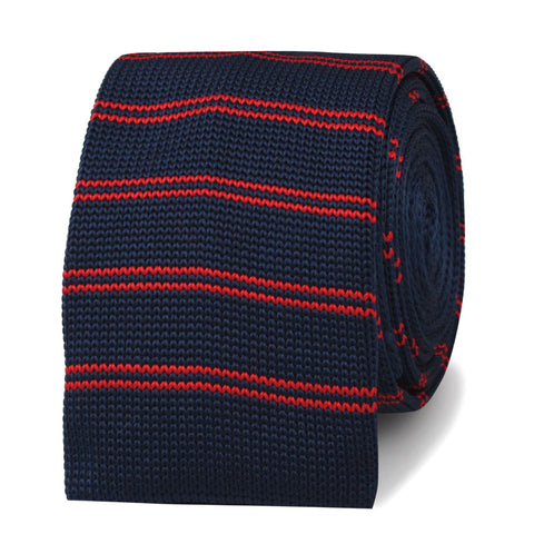 Lester Diamond Navy Blue with Red Striped Knitted Tie