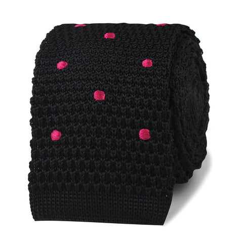 Tommy DeVito Black with Pink Polkadots Knitted Tie