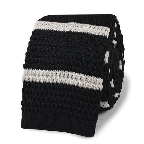 Captain Koons Black with White Stripes Knitted Tie