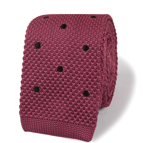 Rose Pink with Black Polkadots Knitted Tie