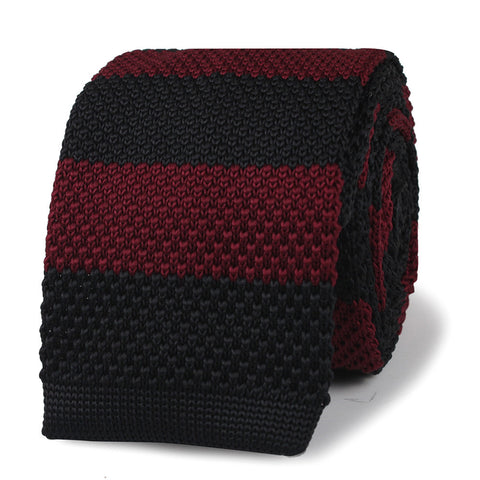 Benicio Del Toro Black & Burgundy Striped Knitted Tie