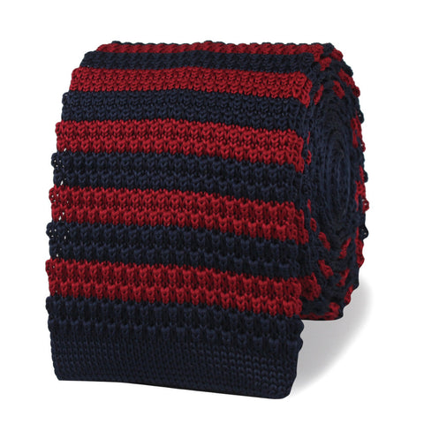 Jimmy Doyle Navy Blue & Maroon Striped Knitted Tie