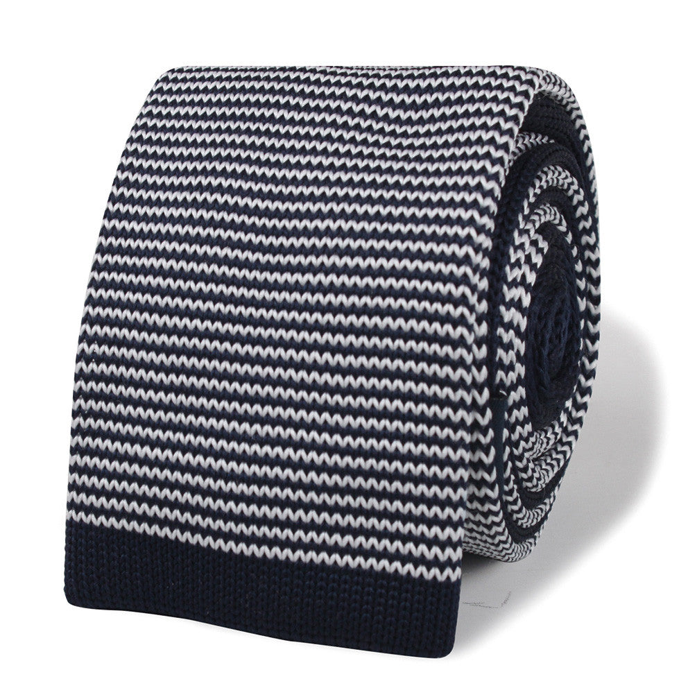 Butch Coolidge Navy Blue Pattern Knitted Tie | Knit Ties Knits | OTAA