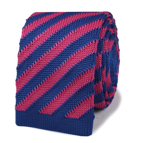 Frank Marino Pink & Blue Striped Knitted Tie