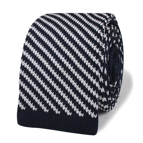 Chris Penn Navy Blue Striped Knitted Tie