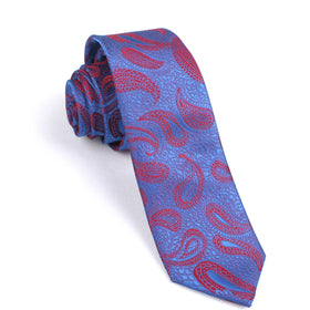 Paisley Purple and Red Skinny Tie