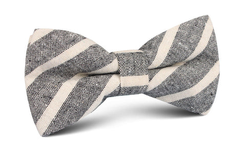 Adana Black Chalk Stripe Linen Bow Tie