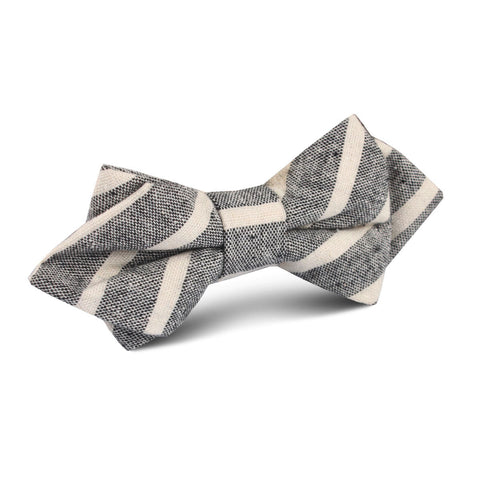 Adana Black Chalk Stripe Linen Diamond Bow Tie