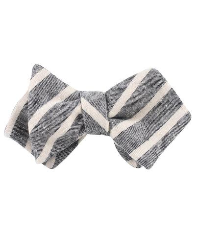 Adana Black Chalk Stripe Linen Diamond Self Bow Tie