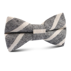 Adana Black Chalk Stripe Linen Kids Bow Tie