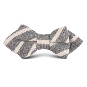 Adana Black Chalk Stripe Linen Kids Diamond Bow Tie