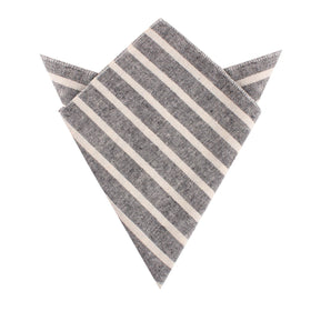 Adana Black Chalk Stripe Linen Pocket Square