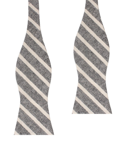 Adana Black Chalk Stripe Linen Self Bow Tie