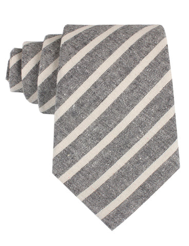 Adana Black Chalk Stripe Linen Tie