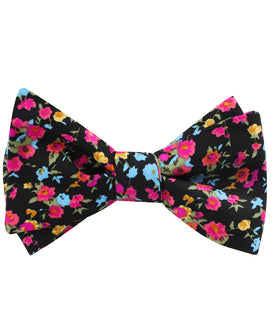 Amaryllis Black Liberty Floral Self Bow Tie