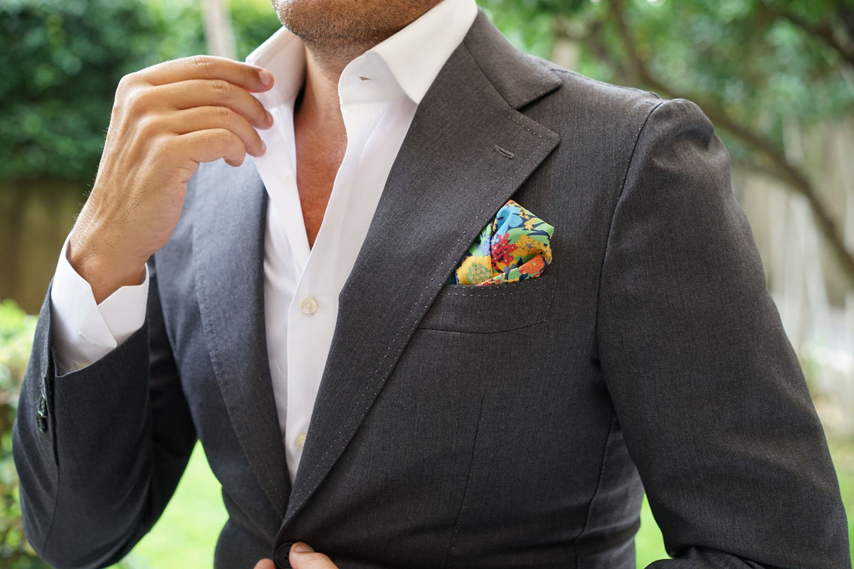 Amazonian Jungle Floral Pocket Square