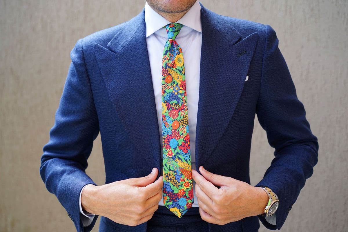 Amazonian Jungle Floral Skinny Tie