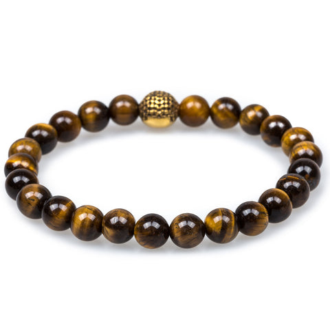 Amazonian Yellow Tiger's Eye Gold Skull Bracelet