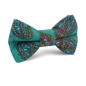 Amer Fort Teal Paisley Kids Bow Tie