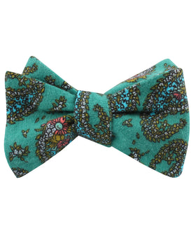 Amer Fort Teal Paisley Self Bow Tie