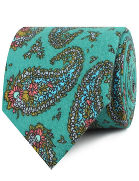 Amer Fort Teal Paisley Necktie