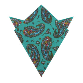 Amer Fort Teal Paisley Pocket Square